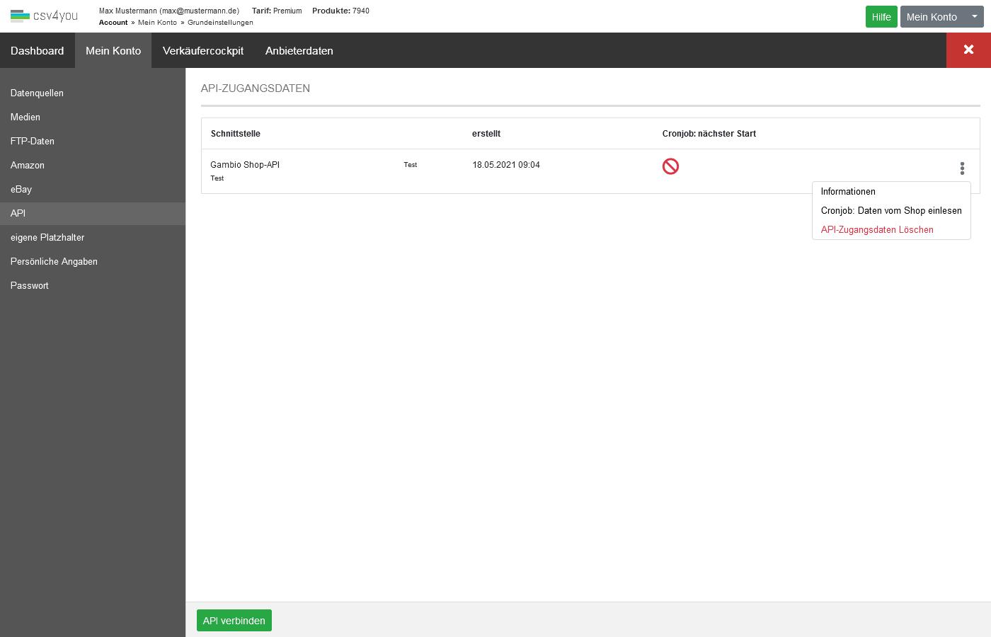 API - aktuelle API-Listings abrufen - Aktuelle API-Listings einlesen