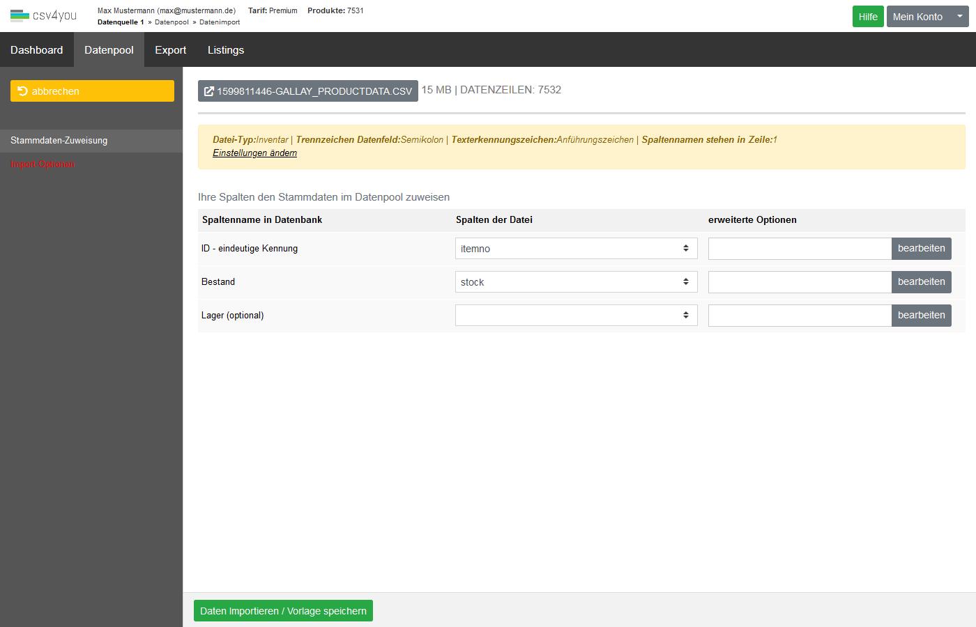 Datenpool - Datenimport Bestand - Spaltenzuweisungen und Importoptionen