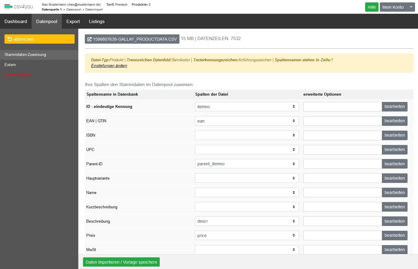 Datenpool - Datenimport Produkte - Spaltenzuweisungen und Importoptionen