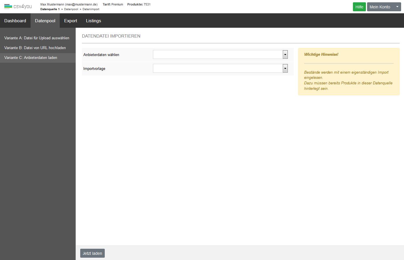 Datenpool - Datenimport Bestand - Importvarianten