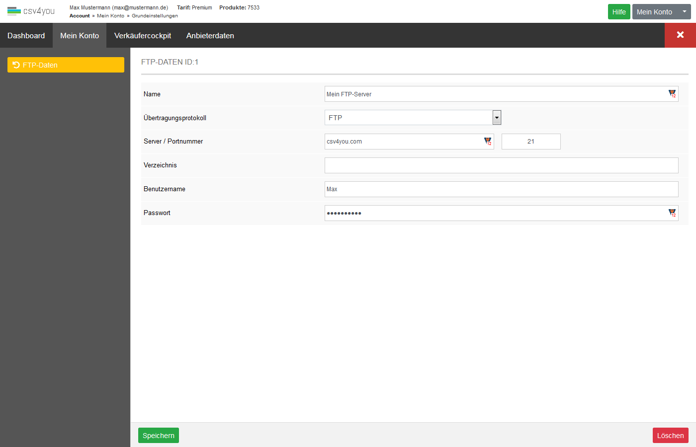 Mein Konto - Grundeinstellungen - FTP - Server