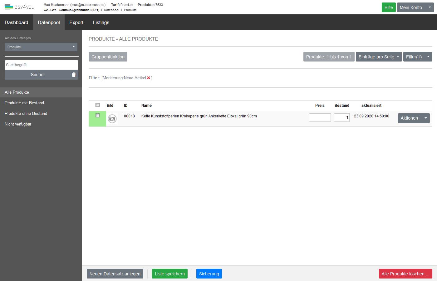 Datenquellen - Verwaltung - Markierungsverwaltung