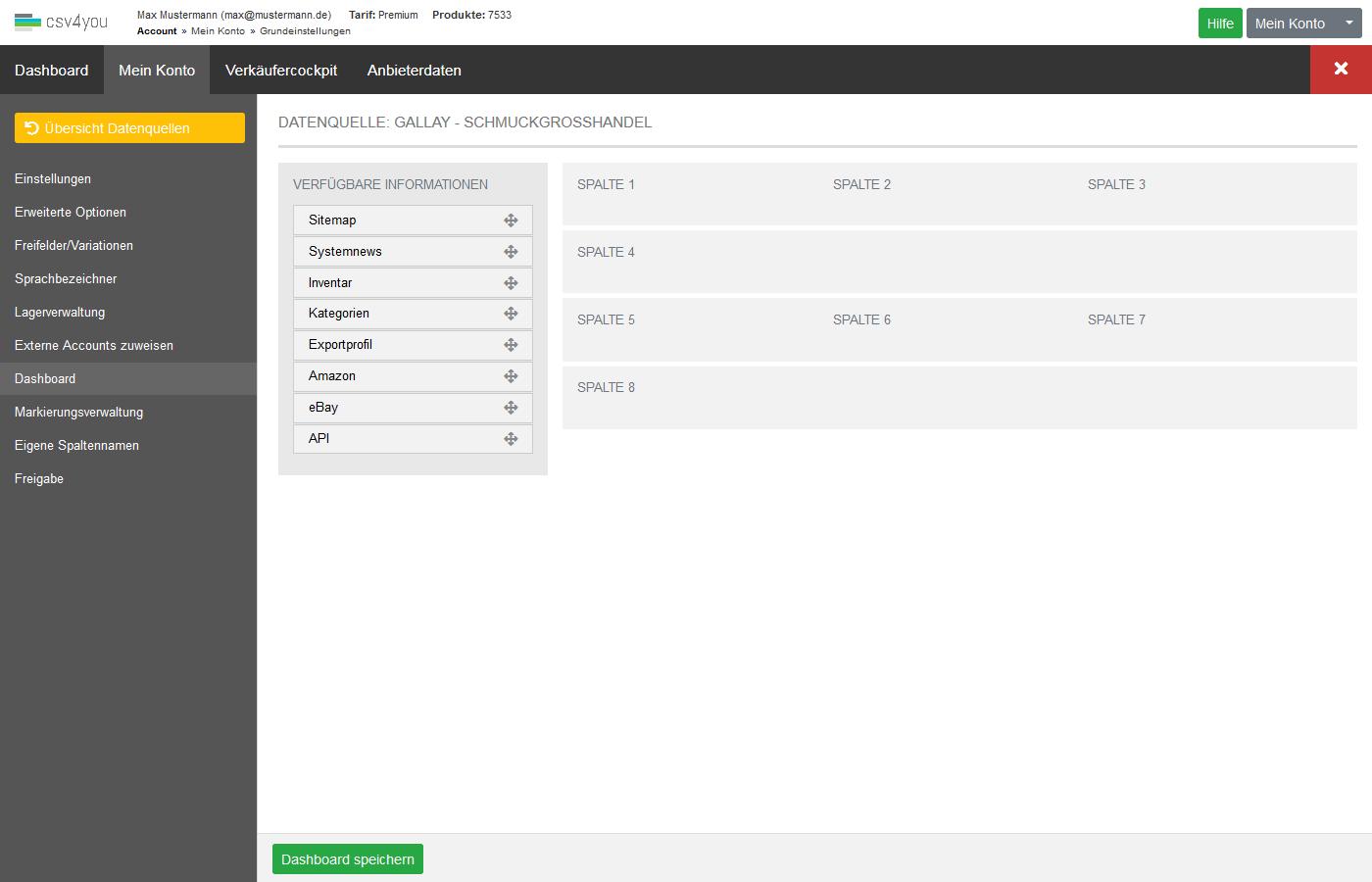 Datenquellen - Verwaltung - Dashboard anpassen