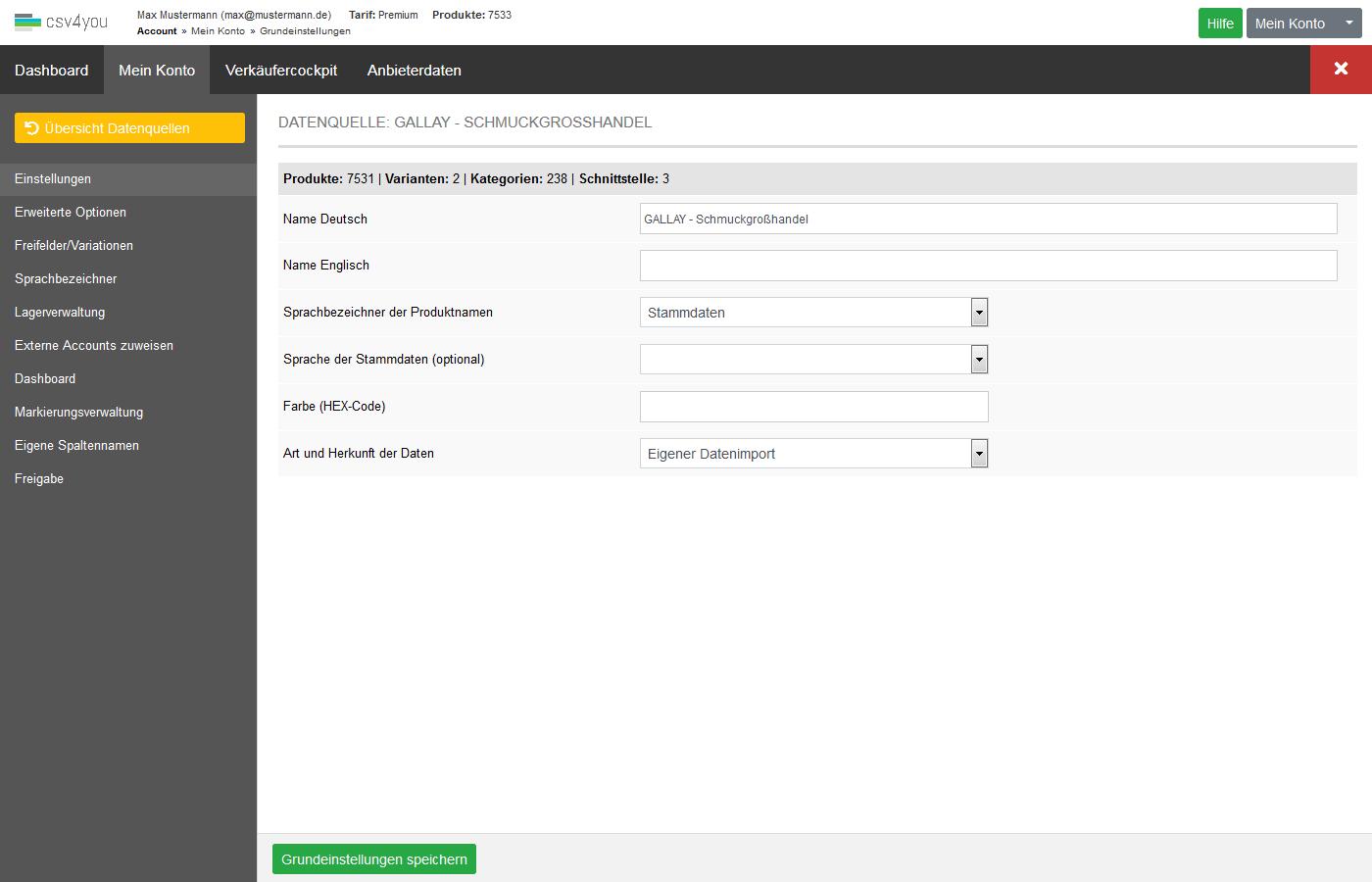 Datenquellen - Verwaltung - Einstellungen