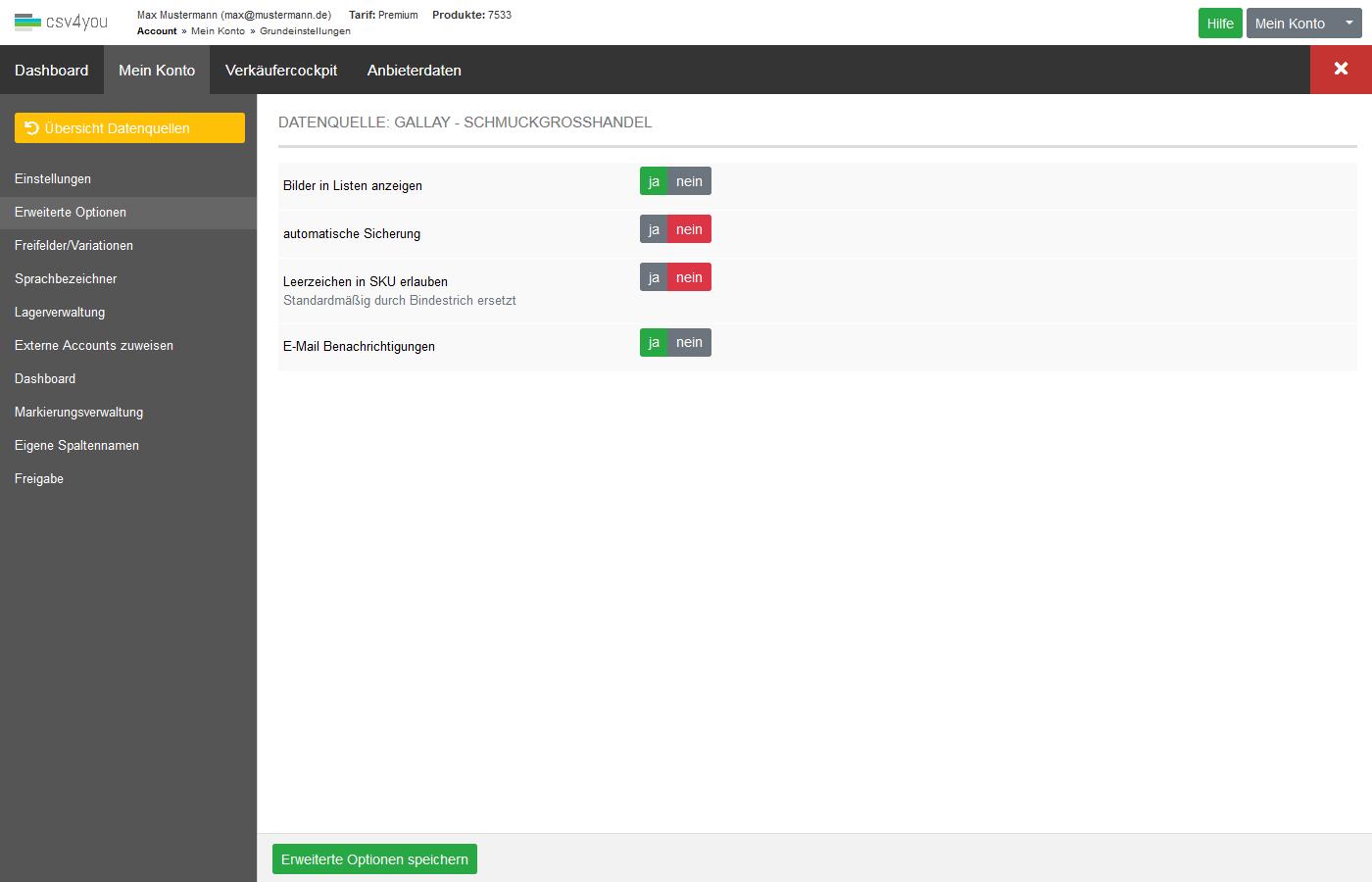 Datenquellen - Verwaltung - Erweiterte Optionen